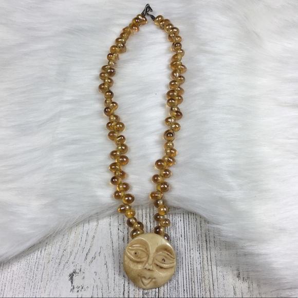 Jewelry Carved Bone Moon Beaded Choker Necklace Poshmark